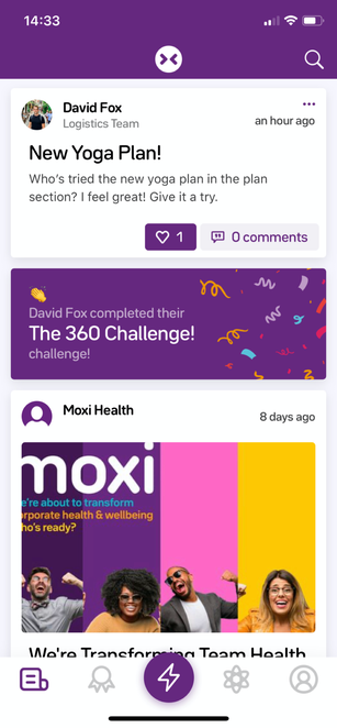 A screenshot of the Moxi app news feed, showing posts from different users