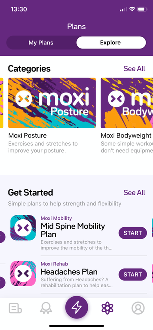 A screenshot on the explore section in Moxi's plans feature