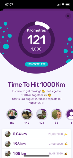 A screenshot of a group challenge to complete 1000km walking distance a month