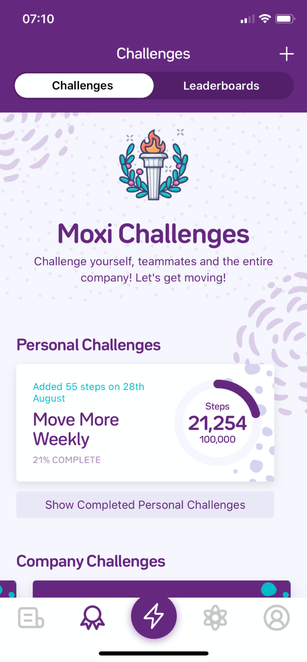 A screenshot of the challenges feature in the Moxi app